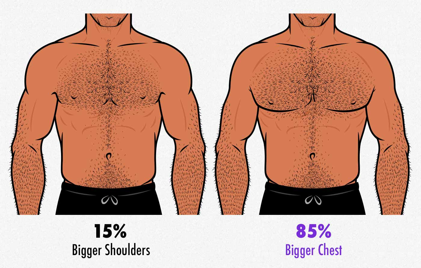 Survey results showing that gay men find men with bigger chests more attractive.