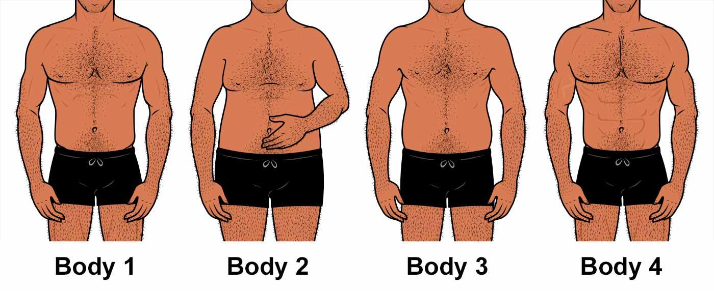 Illustration of men at varying degrees of leanness.