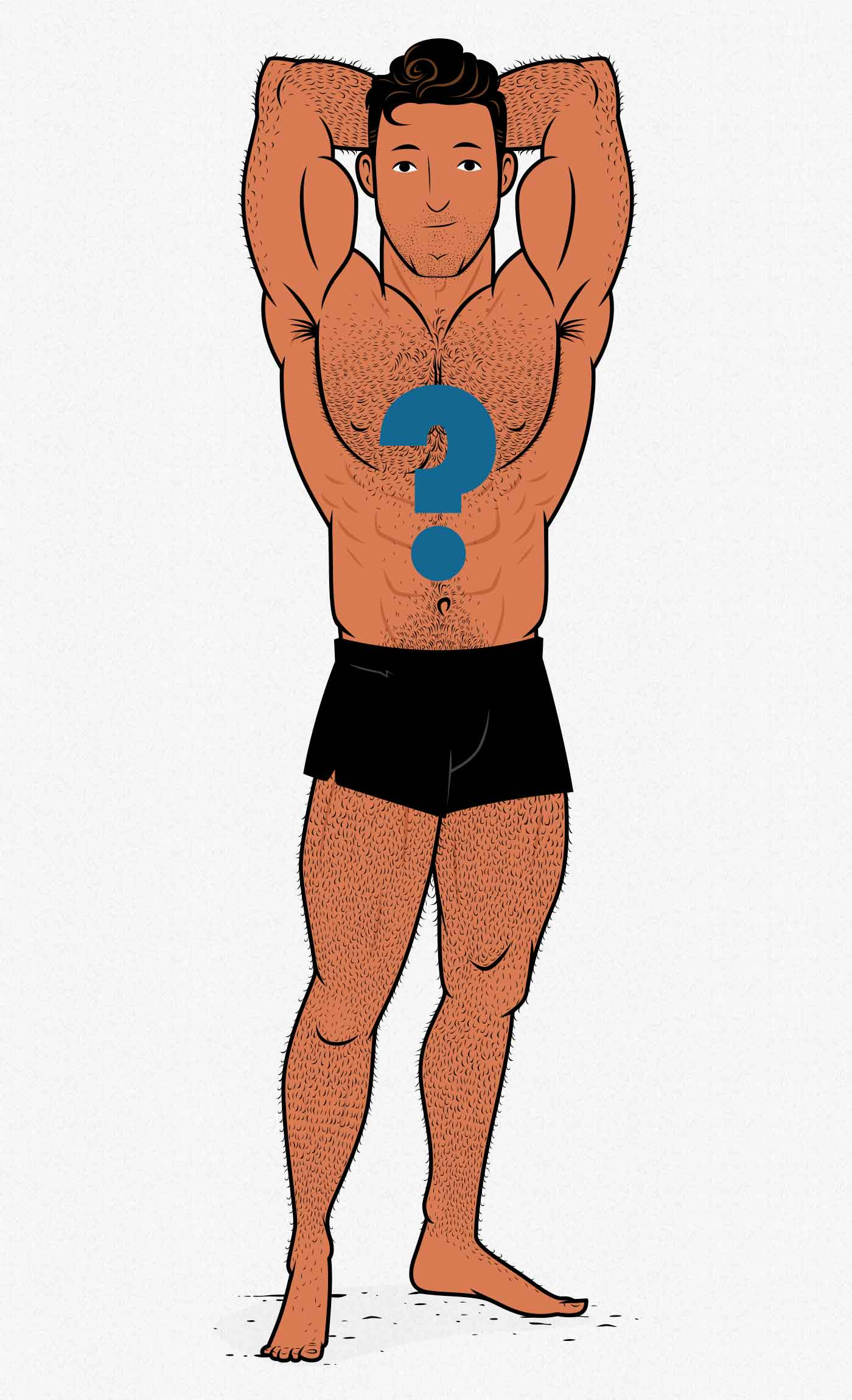 Illustration of a lean and muscular bodybuilder.